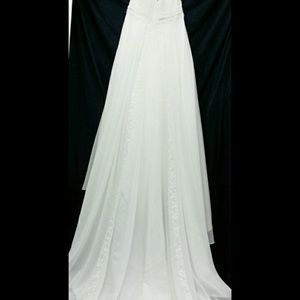 David\'s Bridal Dresses   Chiffon Empire Waist Wedding Dress Ivory ...